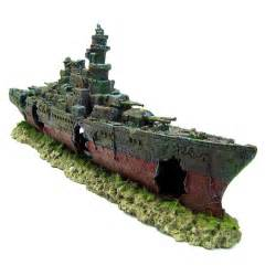 warship cave aquarium ornament l 49cm navy battleship