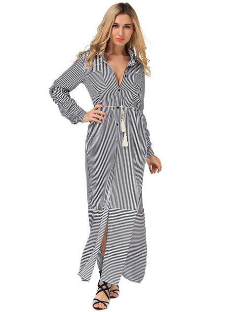Casual Women Long Sleeve Stripe Buttons Maxi Shirt Dresses