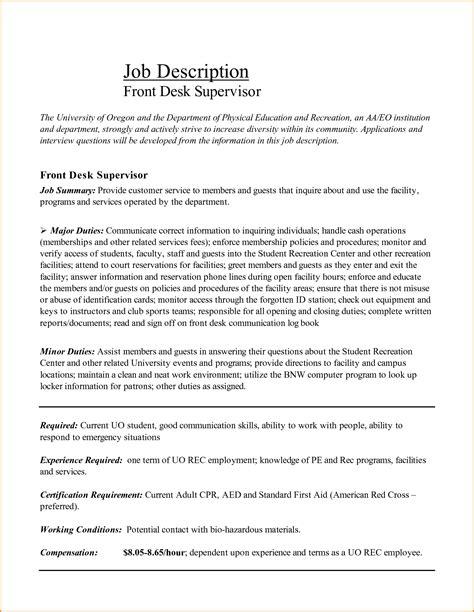 front desk description resume front desk receptionist sle resume resume daily