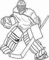 Hockey Goalie Coloring Drawing Player Sports Getdrawings sketch template