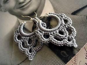 Bonita Crocheted Over Sterling Silver Hoop Earring In Silvery