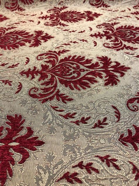 Affordable Upholstery Fabric by Sabrina Ruby Damask Fabric Chenille Upholstery Fabric By