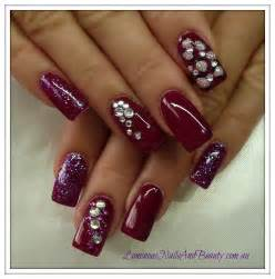 Red Acrylic Nails with Glitter