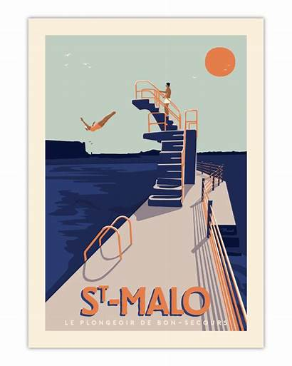 Malo Plongeoir Poster Affiche Saint Travel Marcel
