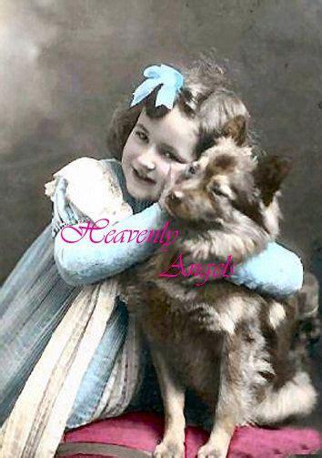 victorian  girl hugging  puppy  heavenlyangels
