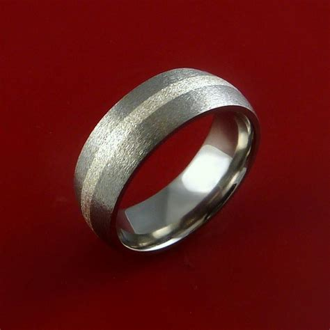 titanium ring classic style with silver inlay wedding band any size an stonebrook jewelry