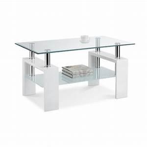 Table Basse Blanche Et Verre : table basse blanche plateau verre tremp electro discount ~ Teatrodelosmanantiales.com Idées de Décoration