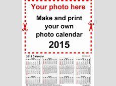 Photo calendar 2015 free printable Word templates