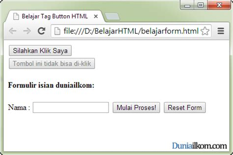 tutorial form html fungsi dan cara penggunaan tag button