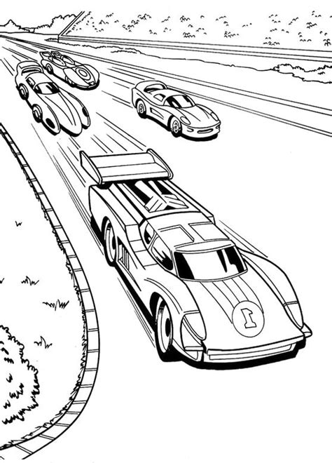 Race Car Racing Hot Wheels Coloring Pages A Race car
