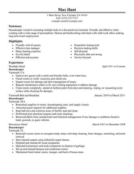 Resume For Hotel Housekeeping by 15 House Keeping Resume Paystub Format