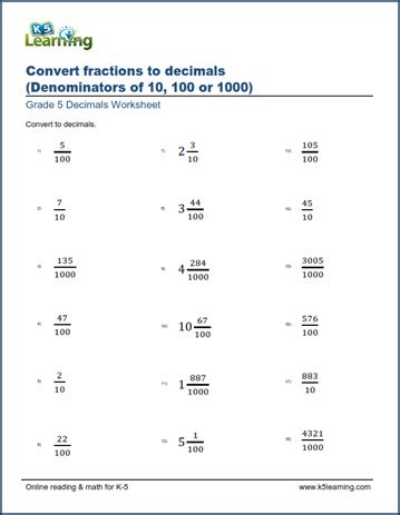 convert decimals to fractions worksheet pdf worksheets for