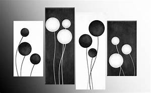 LARGE BLACK AND WHITE ABSTRACT CIRCLES CANVAS PICTURES ...