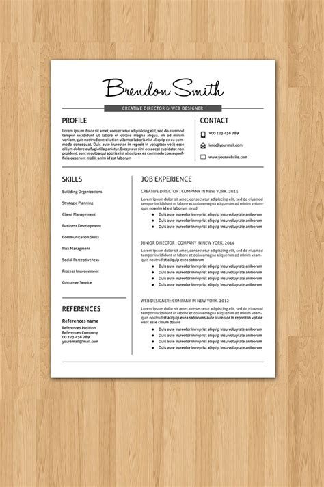 Resume Template Smith by Brendon Smith Professional Resume Template 76839