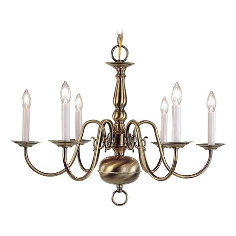 in chandelier shop livex lighting williamsburg 24 in 6 light antique brass candle chandelier at lowes com