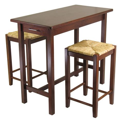 kitchen island table with stools amazon com winsome kitchen island table with 2 rush seat stools 2 cartons 3 piece kitchen