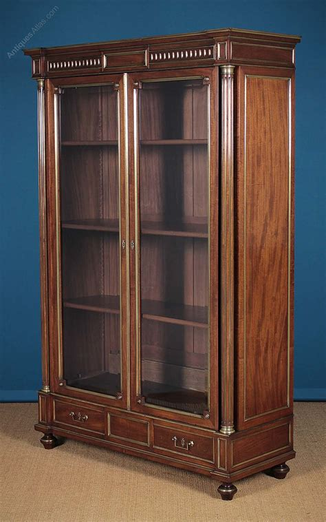 brass bookcase brass mounted mahogany bookcase c 1900 antiques