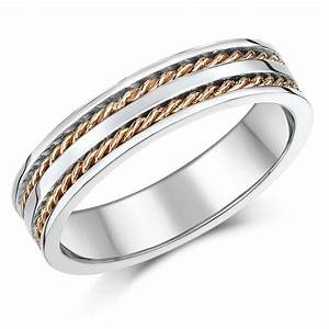 5mm 9ct rose white gold twist rope wedding ring band With gold twist wedding ring