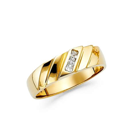 mens fancy engagement ring solid 14k yellow gold cz wedding band polished fancy ebay