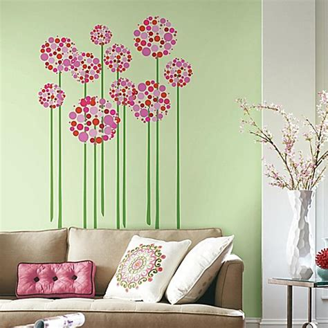 bright floral dot peel  stick giant wall decals bed