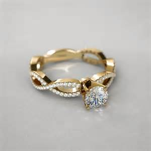 infinity twist engagement ring infinity twist 2 3 ctw engagement ring in 14k yellow gold