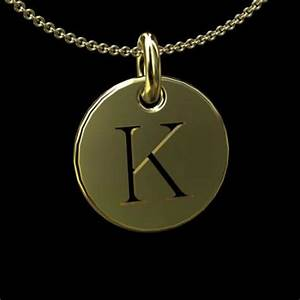 gold cut out initial letter k disc pendant 145mm With letter k pendant