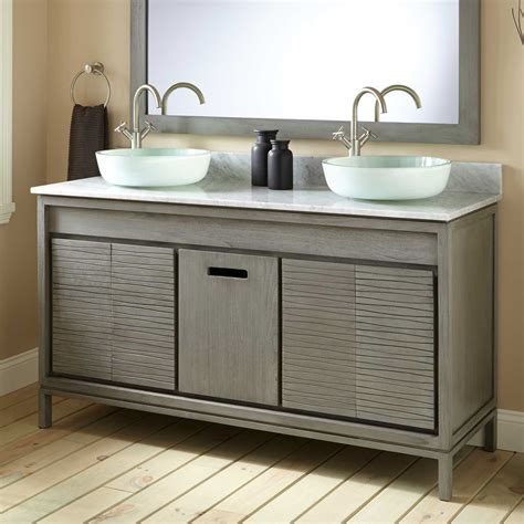 becker teak vessel sink vanity gray