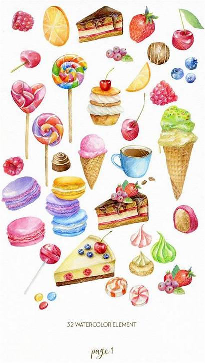 Clipart Sweets Watercolor Clip Candy Cake Ice