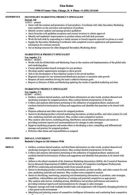 marketing product specialist resume sles velvet