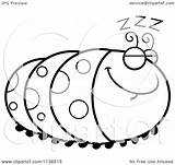 Coloring Caterpillar Inchworm Cartoon Sleeping Outlined Clipart Pages Getcolorings Vector Printable Clip Cory Thoman Elegant sketch template