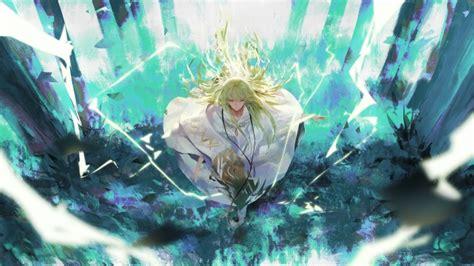 wallpaper enkidu fate grand order cape green hair