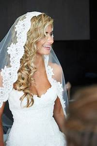 lace white wedding veil with long curly blonde hair down ...