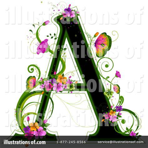 floral letter clipart  illustration  bnp design studio