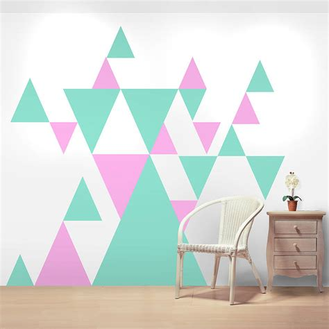painting geometric shapes on walls geometric pattern giant wall sticker set by oakdene designs notonthehighstreet com