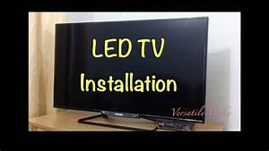 How To Install    Fix    Attach Led Tv Table Top Stand Diy