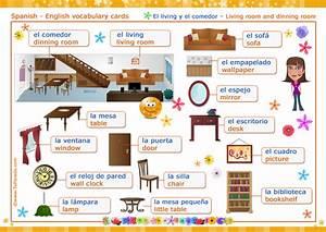 El living Living room, dinning room Vocabulario español inglés, tarjetas
