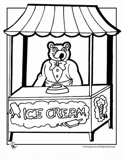 Coloring Ice Cream Pages Parlor Stand Printable
