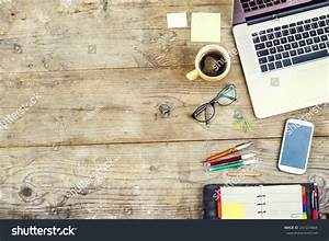 Mix Office Supplies Gadgets On Wooden Stock Photo ...