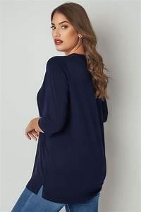 T-shirt Manches 3/4 Couleur Bleu Navy, taille 44 à 64