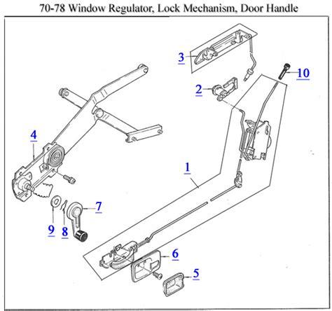 Car Door Lock Mechanism Diagram by 70 78 Window Regulator Lock Mechanism Door Handle Parts