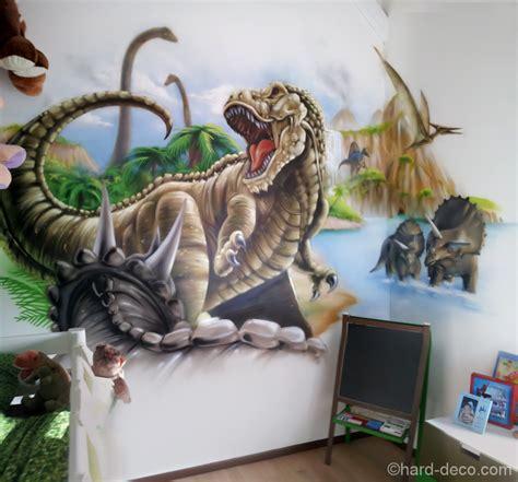 fresque chambre bébé fresque sur le thème des dinosaures et animaux préhistorique
