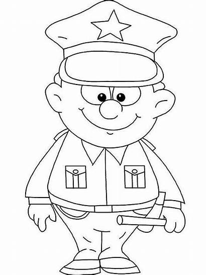 Police Officer Coloring Pages Colouring Woman Netart
