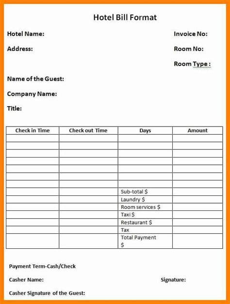 11 hotel bill format in word applicationleter com sd