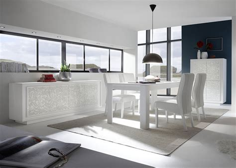 contemporary elegantly styled white color dining room