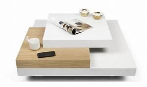 Table Basse Moderne : table basse carre blanche design scandinave 3 plateaux ~ Preciouscoupons.com Idées de Décoration