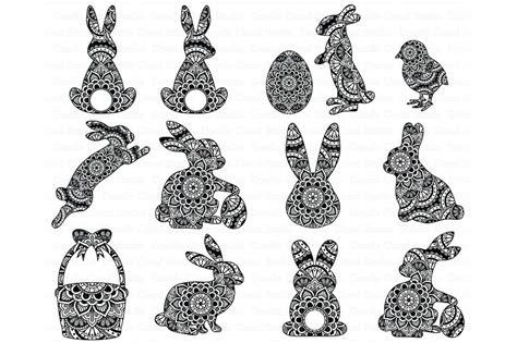 Easter Mandala Svg, Bunny Mandala, Rabbit Mandala Svg