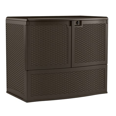 shop suncast 48 in l x 30 25 in w 195 gallon java deck box
