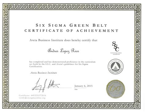 andres lopez rios  sigma green belt certification