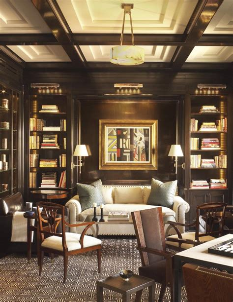 Handsome Showhouse Rooms by A Handsome Library With Lacquered Walls By David Kleinberg