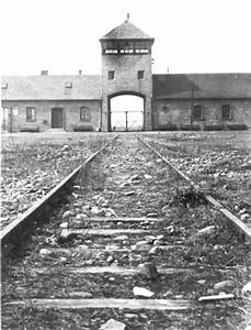 This photo shows the entrance to Auschwitz.